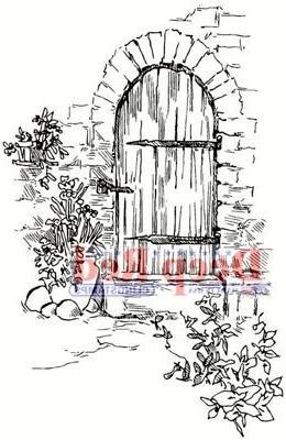 Deep Red Cling Stamp 2X3-Garden Doorway