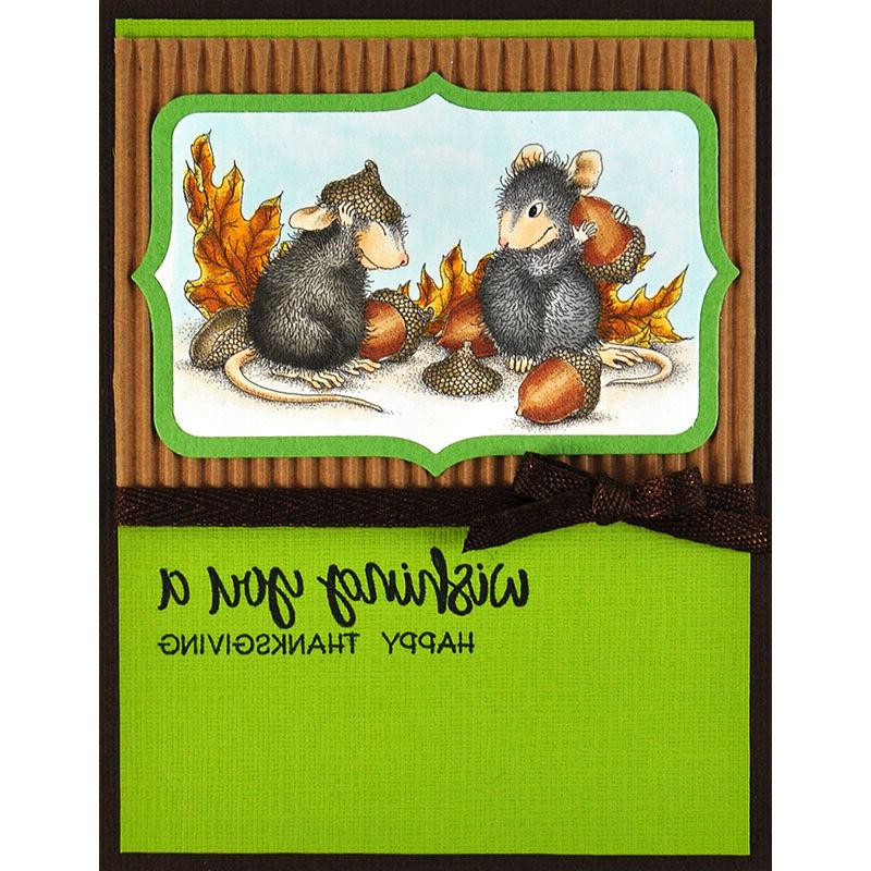 cling mounted rubber stamp house mouse acorn