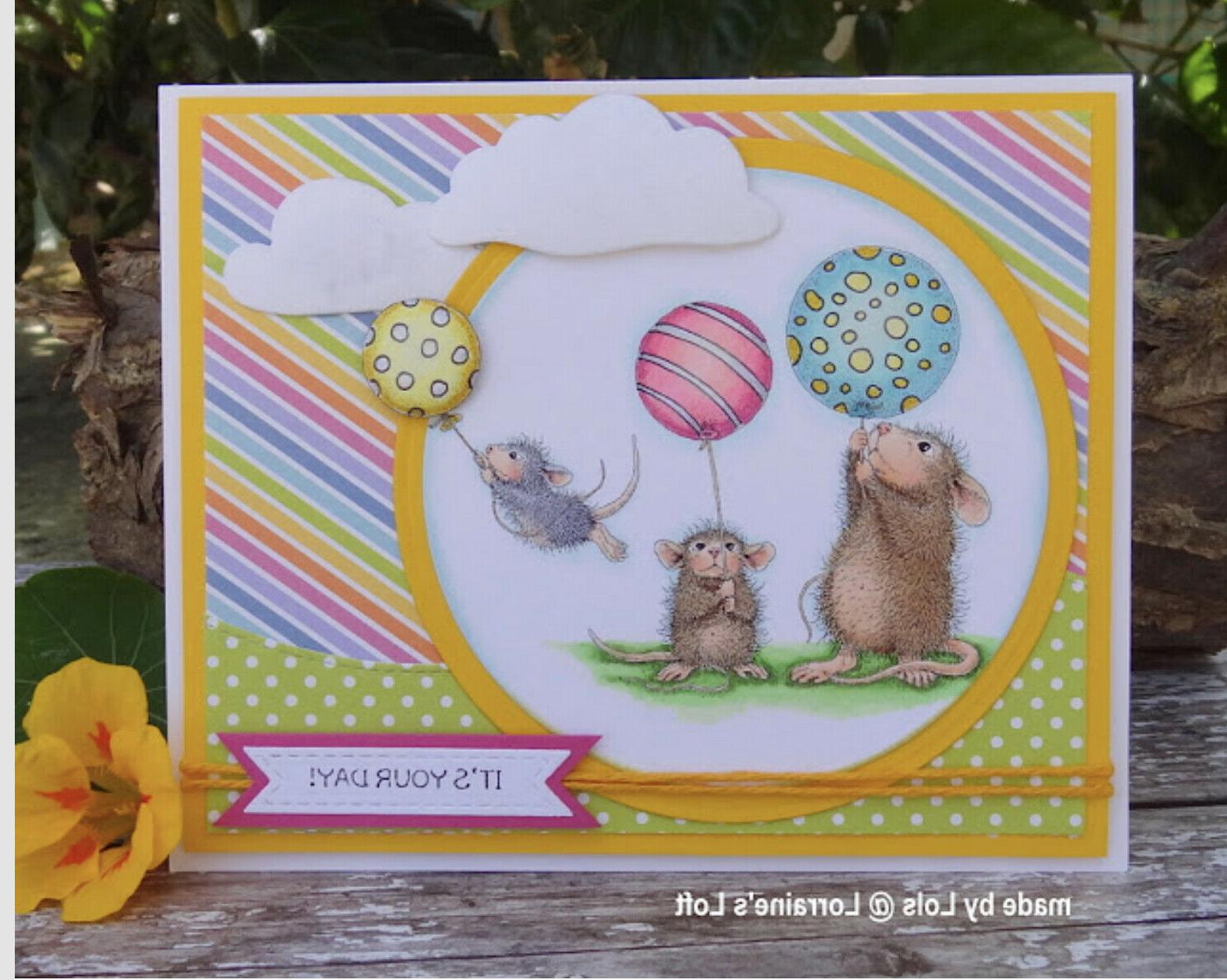 cling mounted rubber stamp house mouse balloon