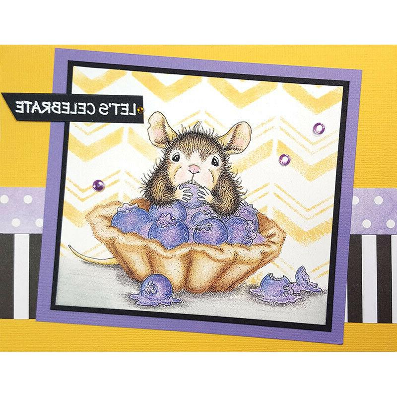 cling mounted rubber stamp house mouse blueberry