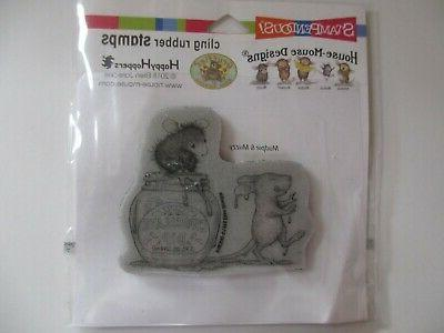 cling mounted rubber stamp house mouse chocolate
