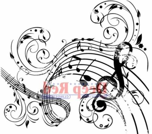Deep Red Cling Stamp 3X3-Music Swirl