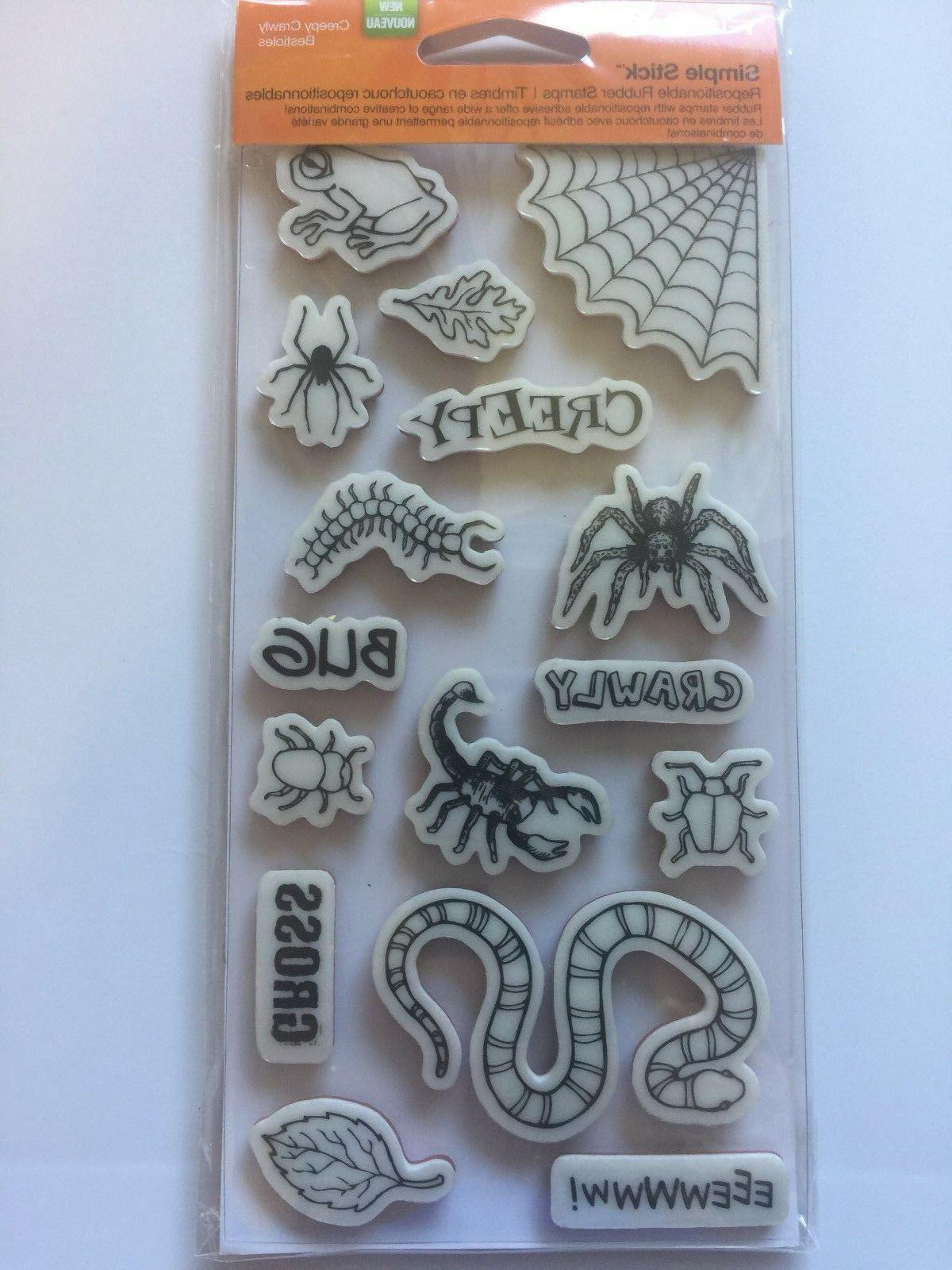 cling rubber stamp set by creepy crawly