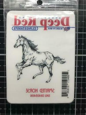 """Deep Red Cling Stamp 2""""X2"""" Spirited Horse 799471516355"""