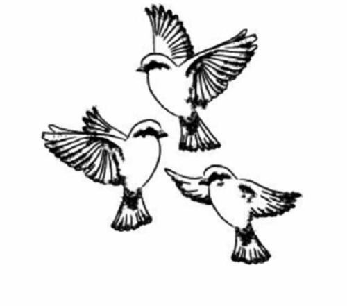 Memory Box Cling Three Little Birds CS2220G Rubber Stamp