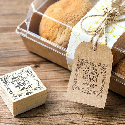 coffee shop theme wooden seal rubber stamp
