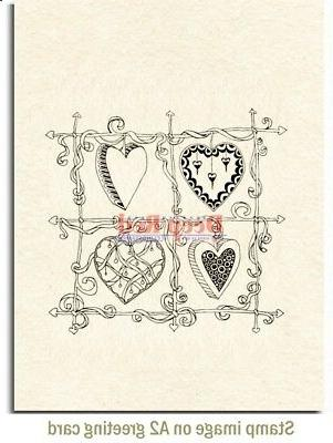 Deep Red Color Me Heart Cling Stamp
