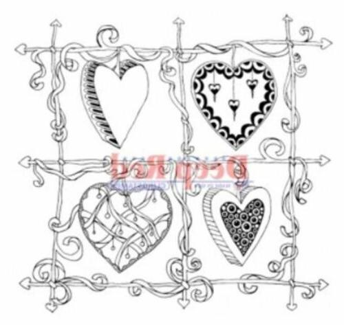 color me heart frame rubber cling stamp