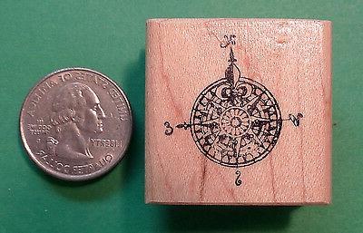 compass map wood mounted rubber stamp