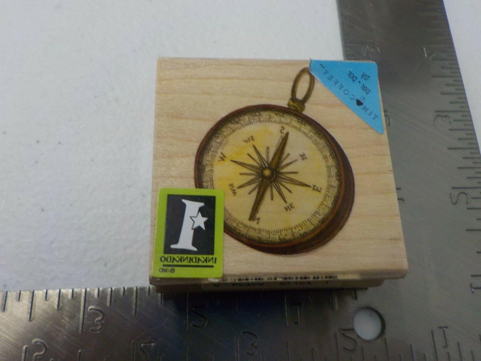 compass pendant wood mounted rubber stamp new