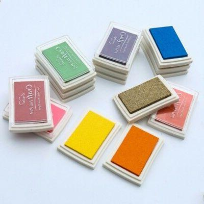 Set of 15 Color Mini Rubber Stamps Pigment Ink Pad Craft Car