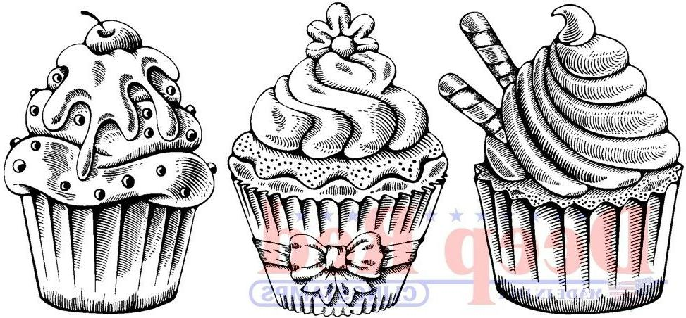 Deep Red Stamps Cupcake Border Rubber Cling Stamp