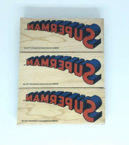 dc comic superman rubber stamp wood mounted