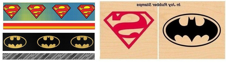 dc comics super hero logo rubber stamp