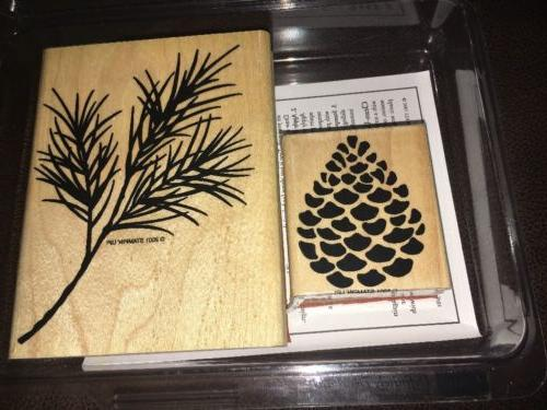 STAMPIN UP DEFINITELY DECORATIVE PINECONES WOOD MOUNT RUBBER