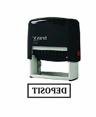 DEPOSIT-BLACK Office Self Ink Rubber Stamp with border-Traxx