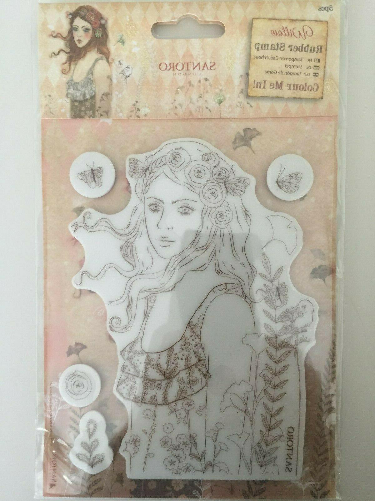 Santoro Willow Le Message Color Me In Cling Rubber Stamp Set