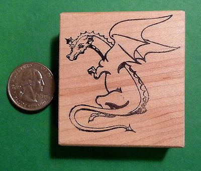 dragon rubber stamp wood mounted