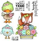 DUCK FOX BIRD Why Blue Set CLEAR Unmounted Rubber Stamp Set