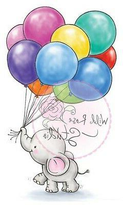 Elephant Bella Balloons Clear Unmounted Rubber Stamp Wild Ro
