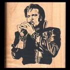 ELVIS PRESLEY Rubber Stamp ELVIS SINGING IN LEATHER JACKET T