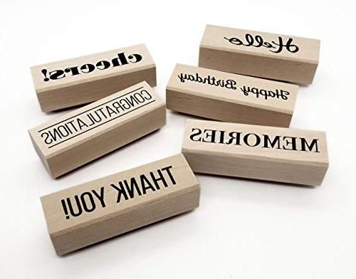 Opia Sentiment Wood Rubber Stamp Set for Scrapbooking and DIY - Congratulations, Celebration, 6 Pieces
