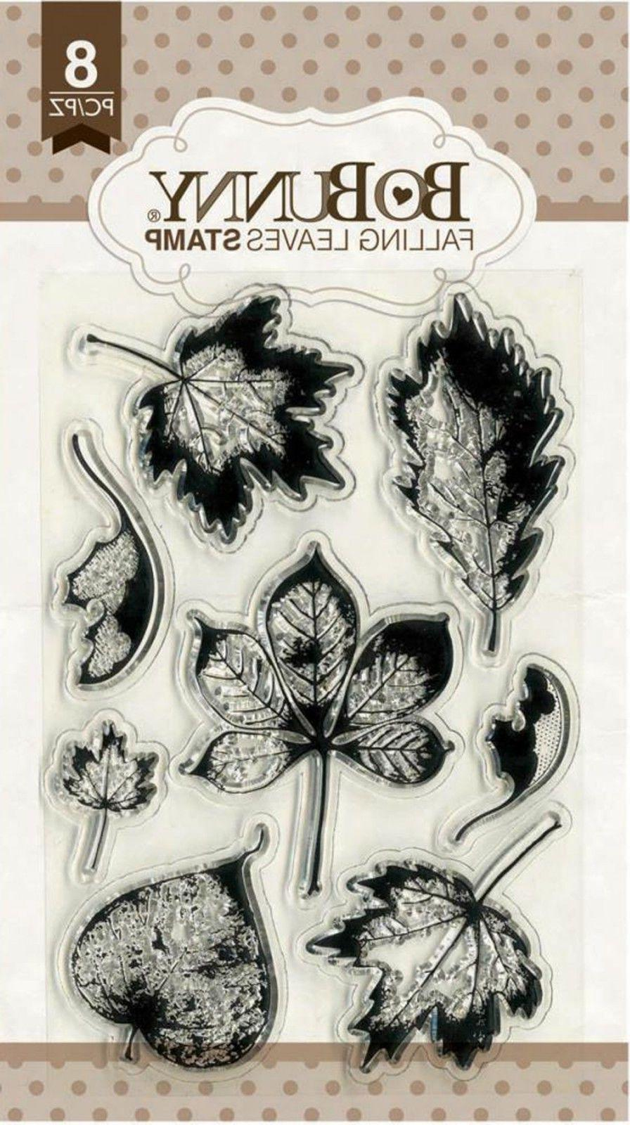 FALL LEAVES Autumn Leaf Clear Unmounted Rubber Stamps Set BO
