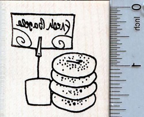 fresh bagels rubber stamp jewish bakery series