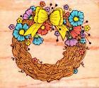 Hero Arts~GRAPEVINE WREATH with Flowers & Bow~Wood Mounted R