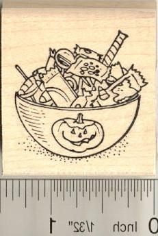 Halloween Candy Bowl Rubber Stamp