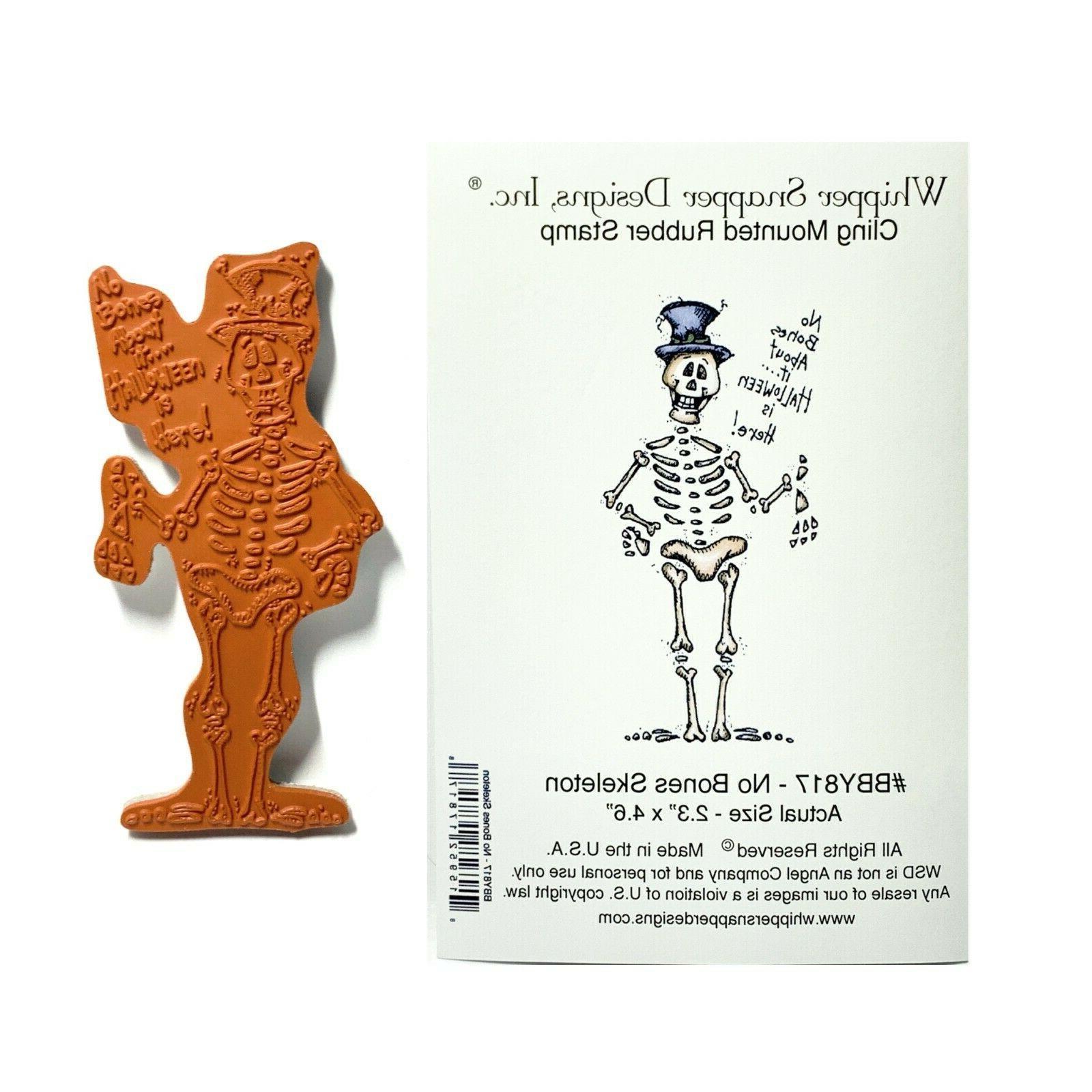 halloween rubber stamp no bones skeleton cling