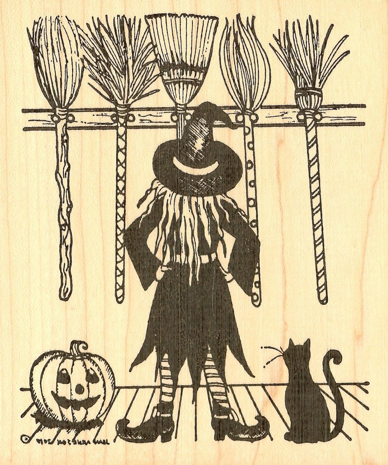 Halloween Brooms Cat Wood Mounted Stamp