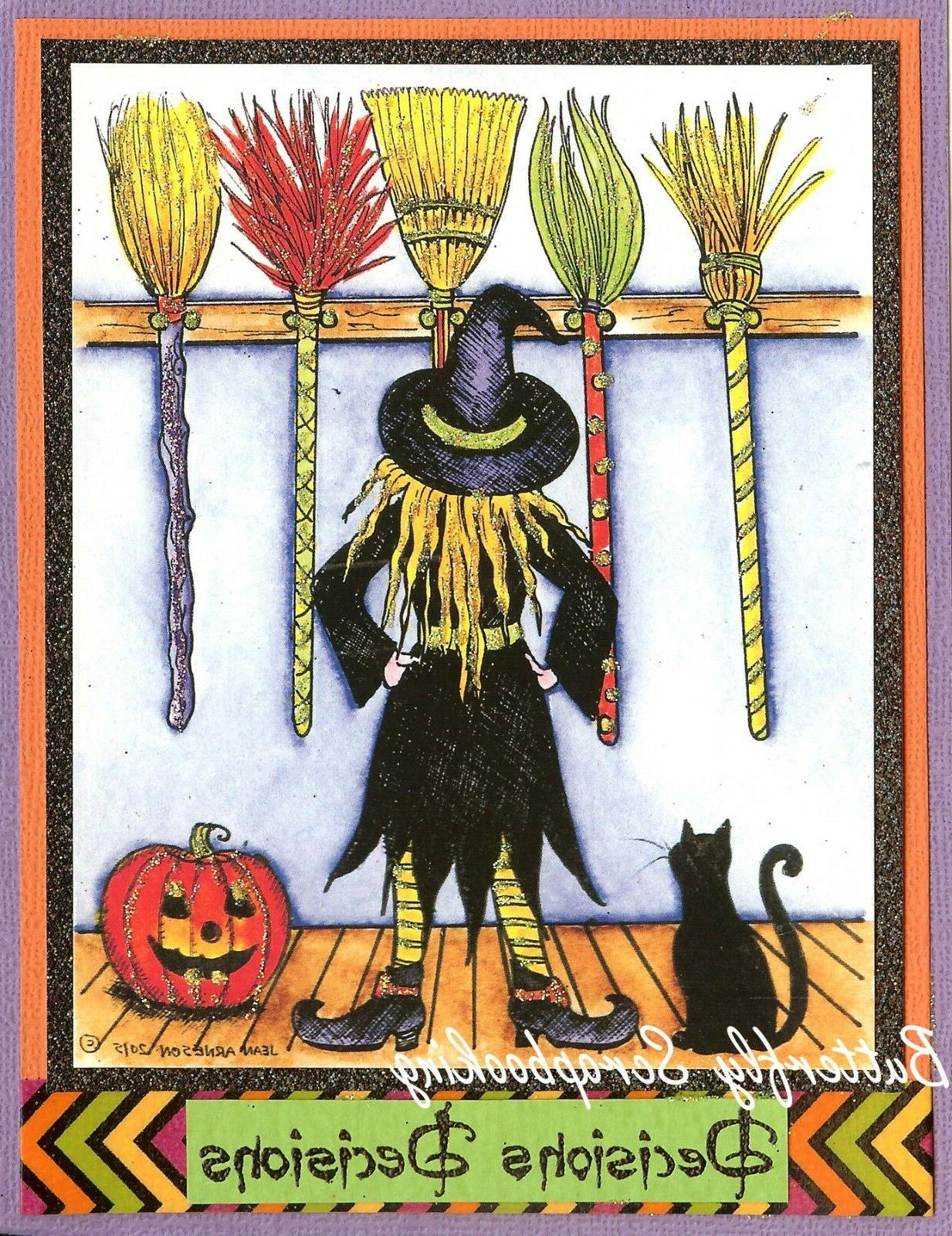 halloween witch brooms and cat wood mounted