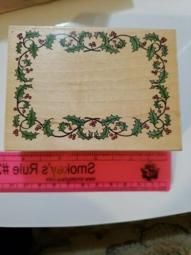 holly frame rubber stamp by 3x4in
