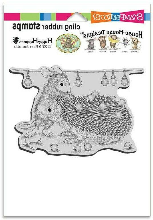 house mouse rubber cling stamp holiday hedgehog