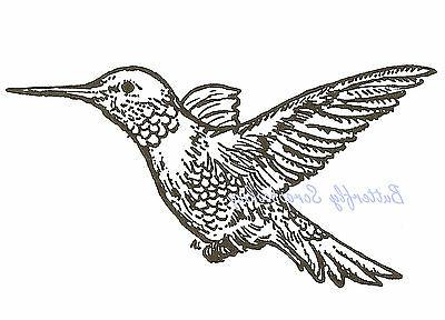 hummingbird bird wood mounted rubber stamp e681