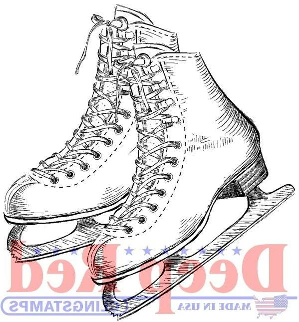 ice skates rubber cling stamp