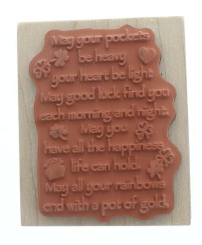 Inkadinkado Irish Good Luck Limerick Wooden Stamp