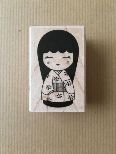 japanese doll 3 wood mounted rubber stamp
