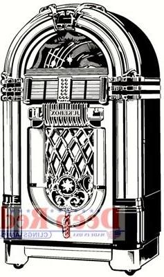 Deep Red Stamps Jukebox Rubber Cling Stamp