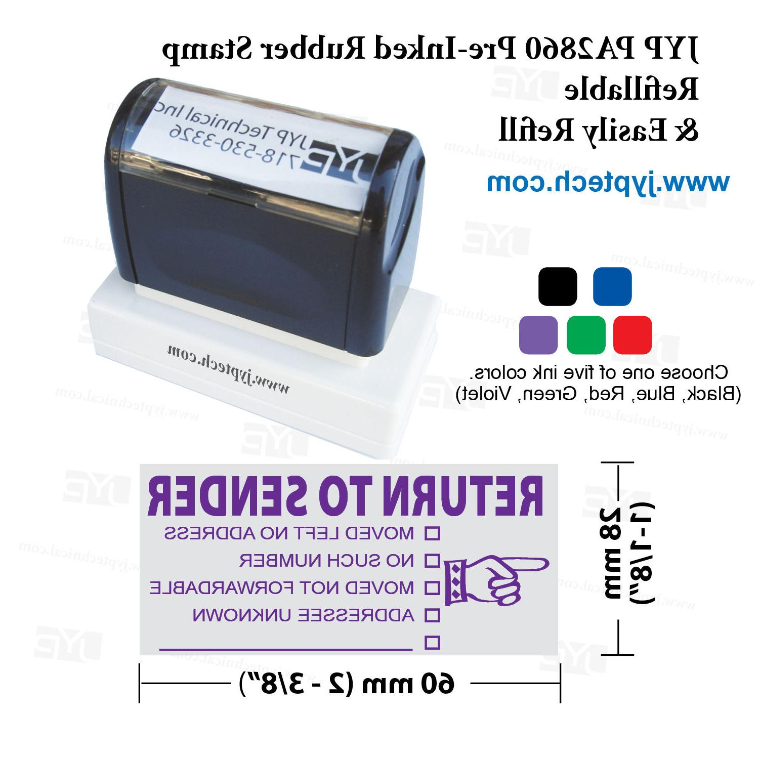JYP Rubber Stamp RETURN SENDER, 5