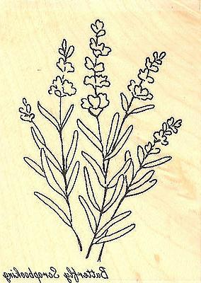 Lavender Flowers Wood Mounted Rubber Stamp Impression Obsess