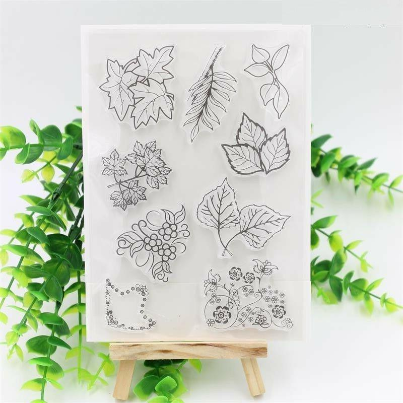 Leaves Transparent Clear Rubber Stamp Seal Paper Craft Scrap