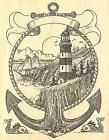 LIGHTHOUSE ANCHOR Wood Mounted Rubber Stamp Impression Obses