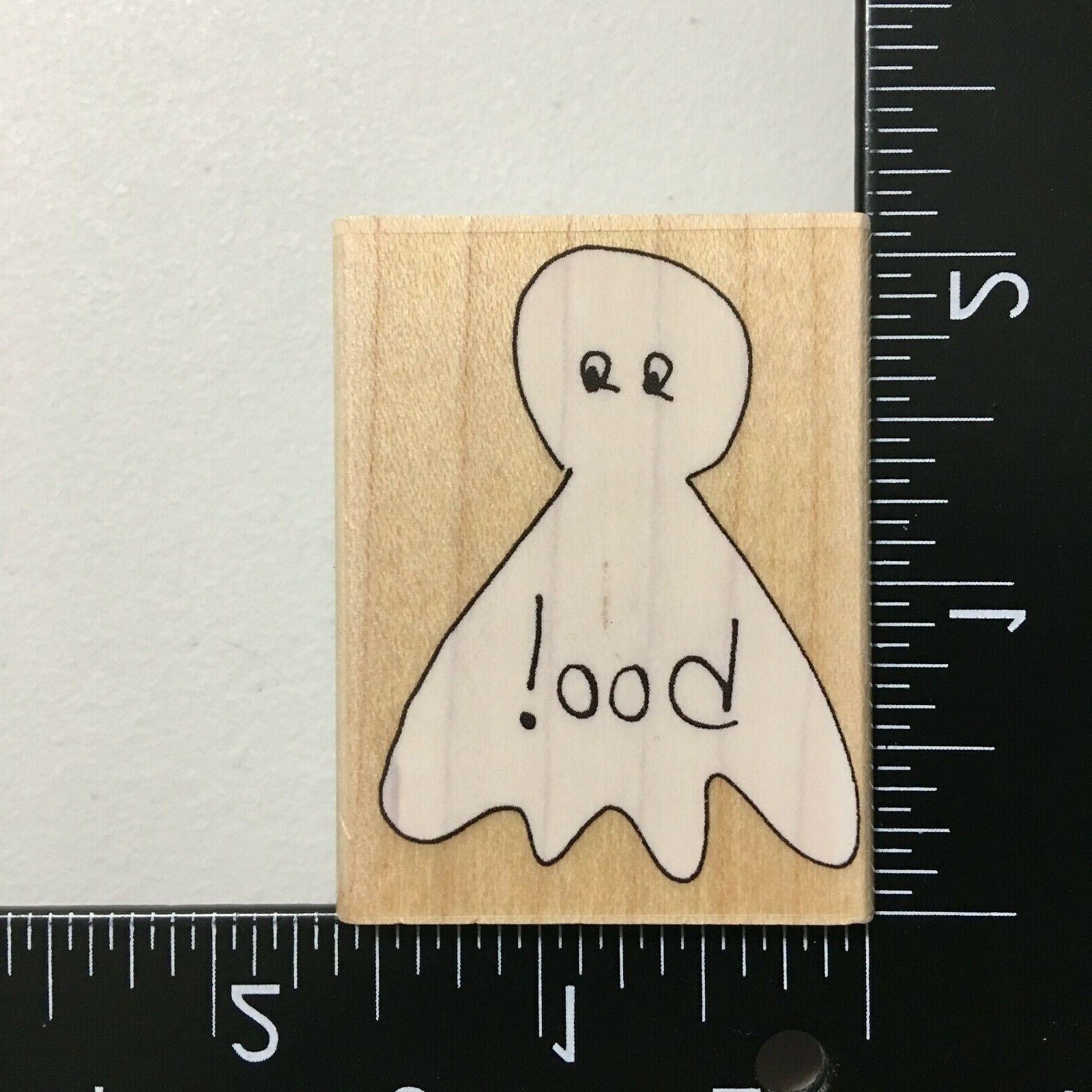 little boo wood mounted rubber stamp ghost