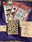 Lot Of 6 New Stamps- Clear, Rubber, Wooden- Hero Arts, Inkad