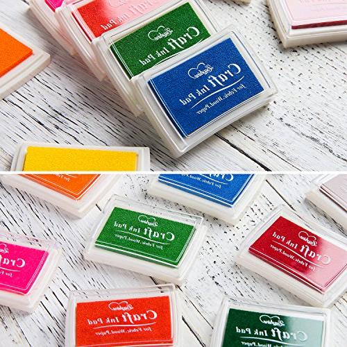 Lsushine Craft Ink Stamps Color,15 Color Craft Fabric