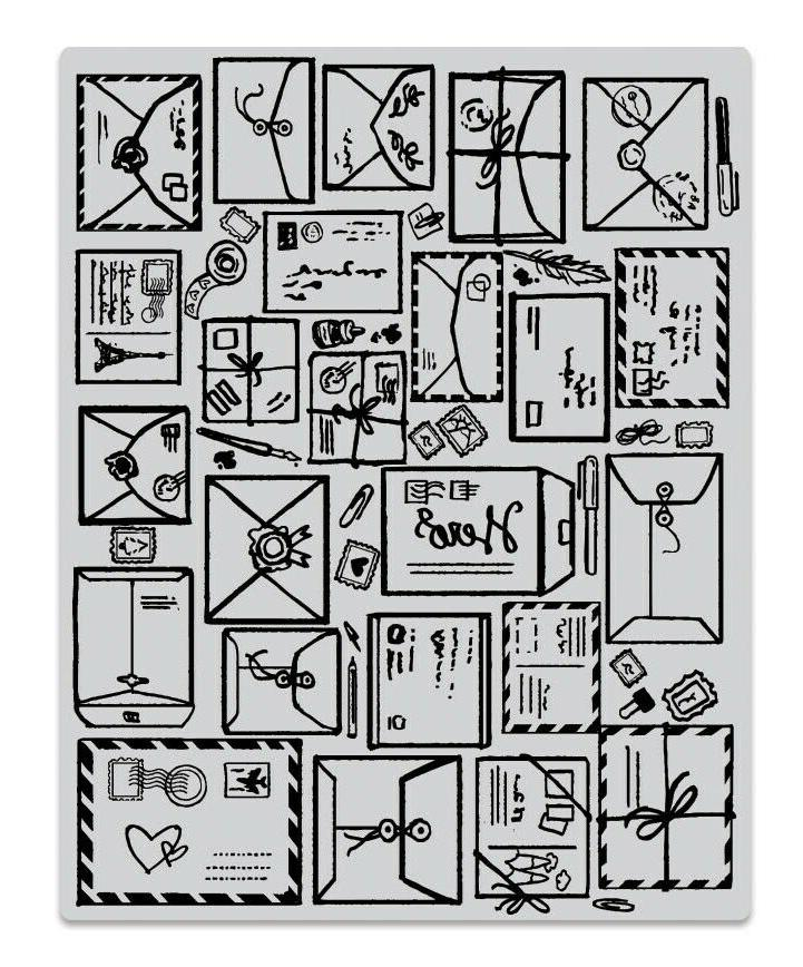 mail jumble background cling basic grey rubber