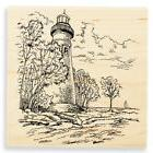 Marblehead LIGHTHOUSE Ocean Scene Wood Mounted Rubber Stamp