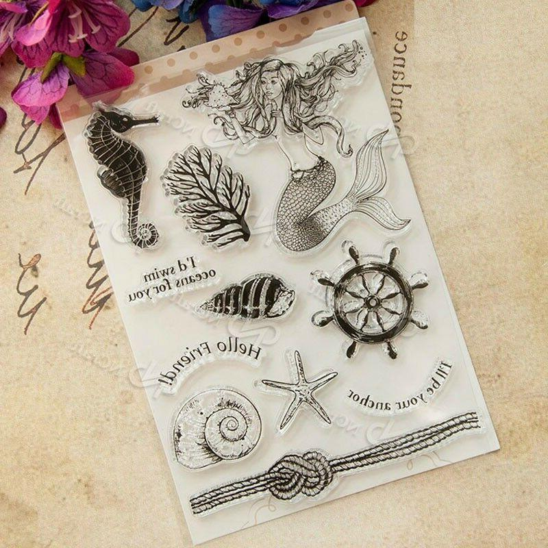 Mermaid Transparent Clear Rubber Stamp Seal Paper Craft Scra
